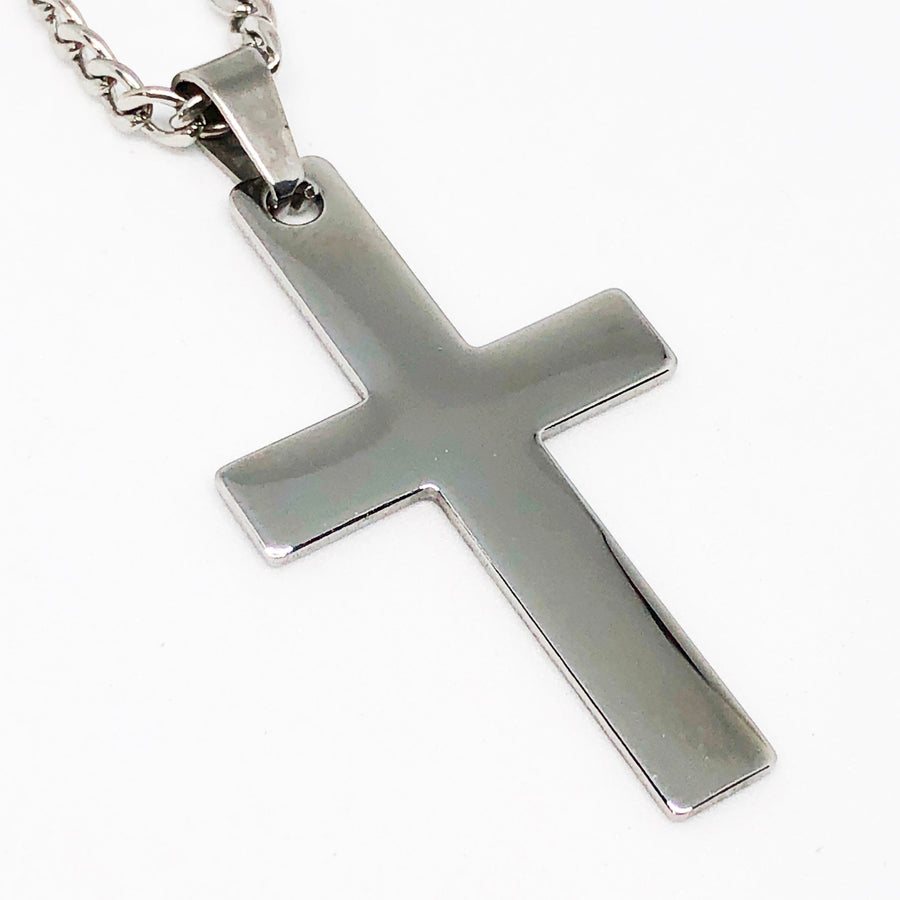 Flat Cross Stainless Steel Necklace