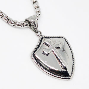 Knight's Shield Cross Stainless Steel Necklace