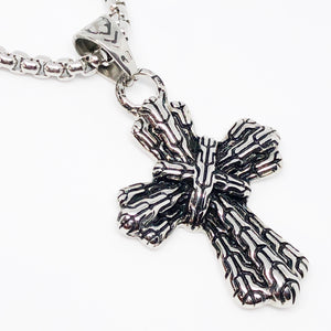 Braided Cross Stainless Steel Necklace