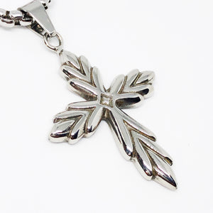 Leaf Cross Stainless Steel Necklace