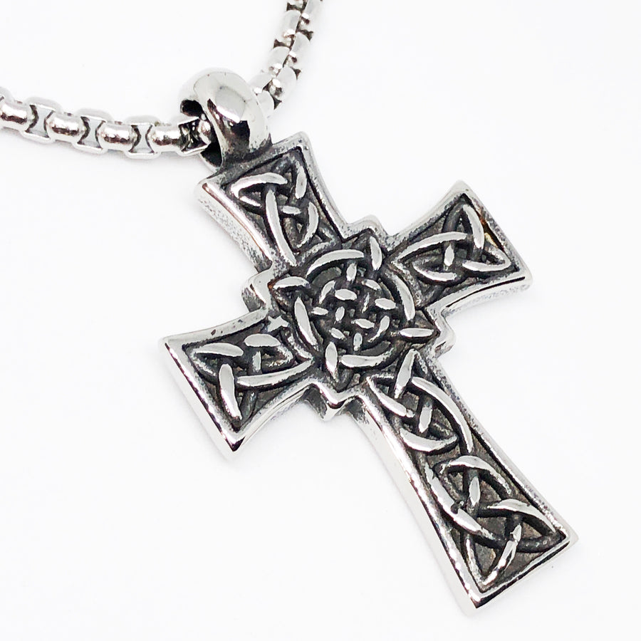 Trinity Celtic Cross Stainless Steel Necklace