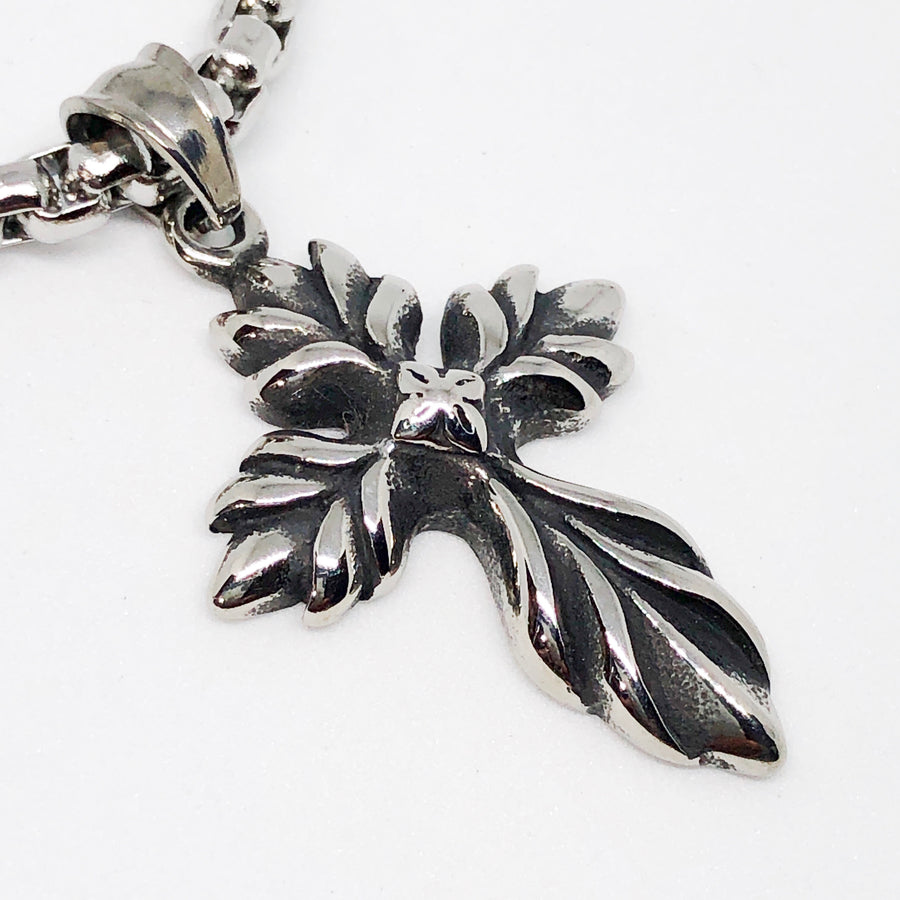 Little Leaf Cross Stainless Steel Necklace
