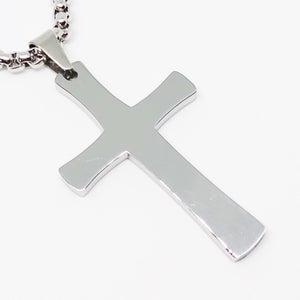 Plain Polished Cross Stainless Steel Necklace
