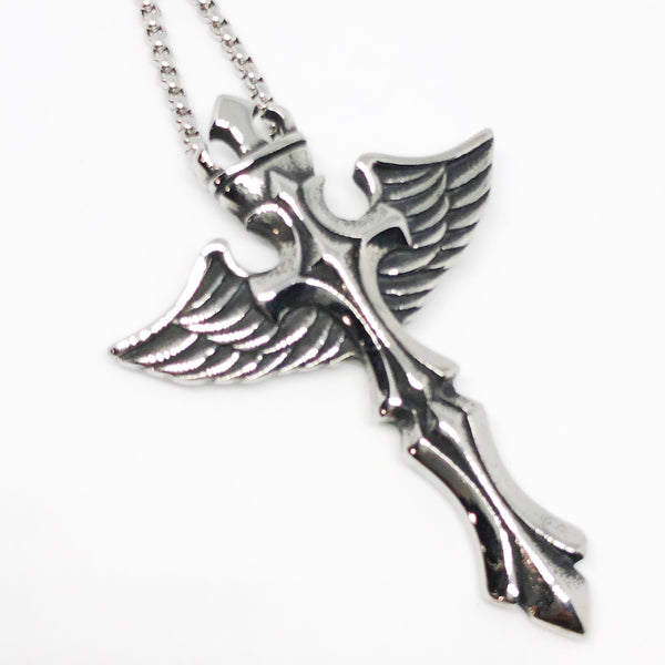 Winged Cross Stainless Steel Necklace