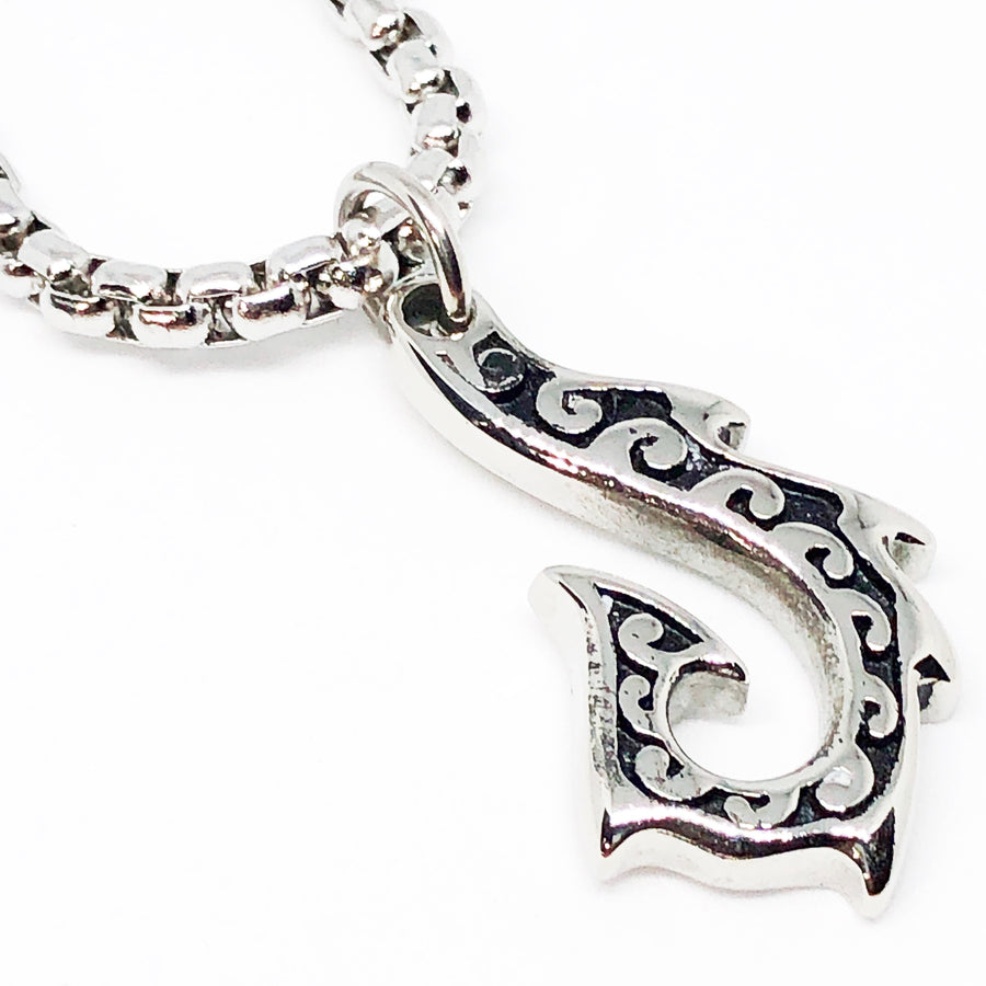 Surfers Fish Hook Stainless Steel Necklace