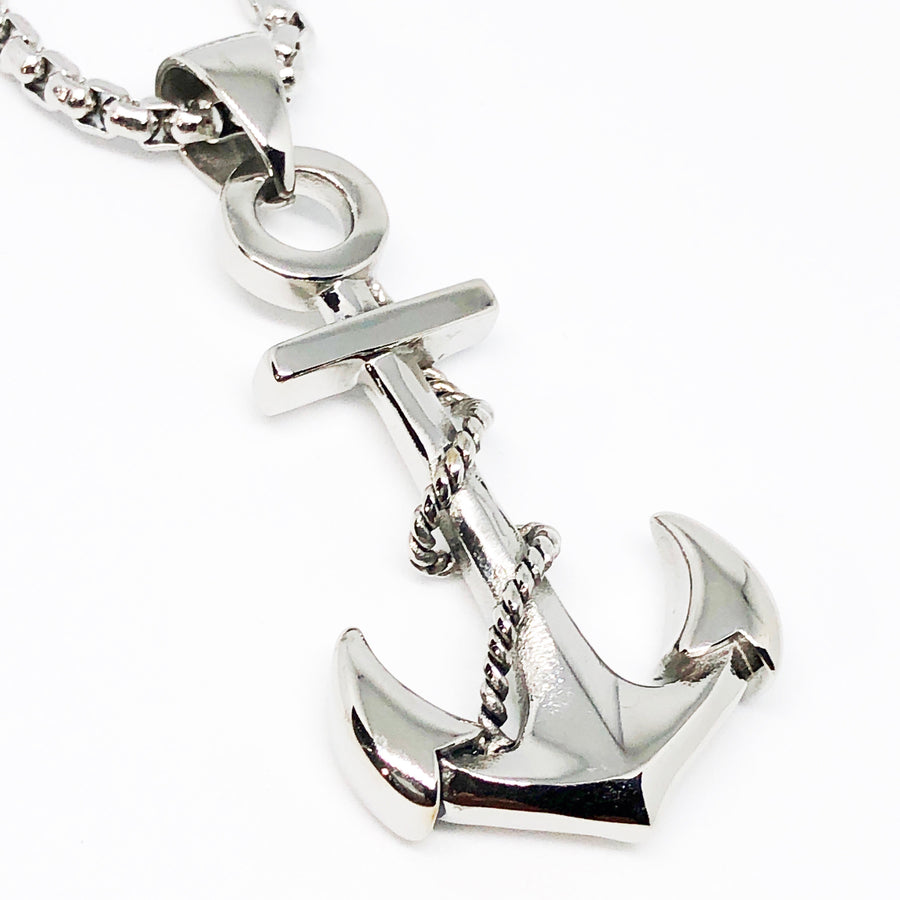 Long Anchor Stainless Steel Necklace
