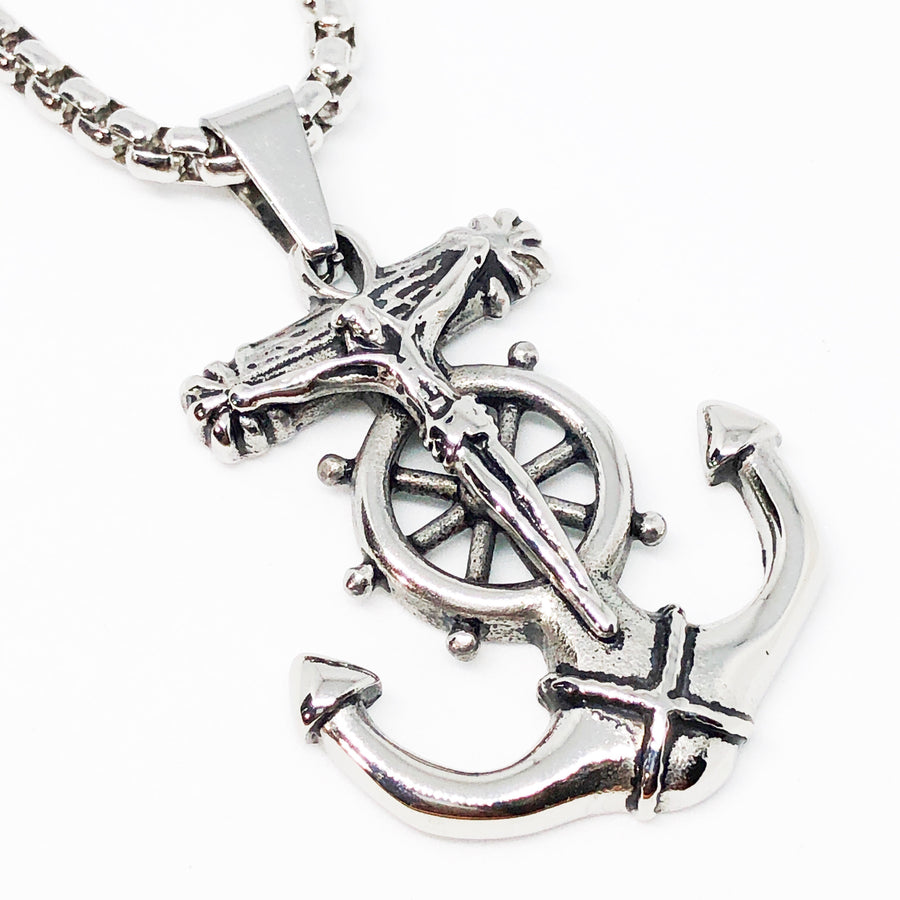 Crucifix Anchor Stainless Steel Necklace