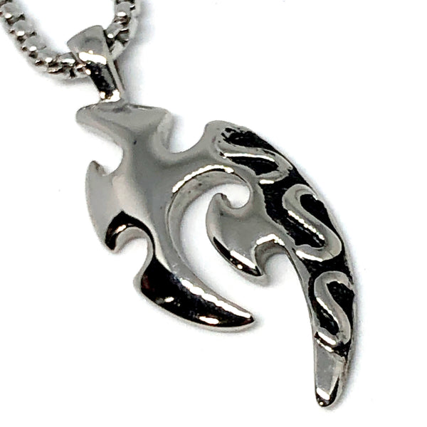 Tribal Surf Symbol Stainless Steel Necklace