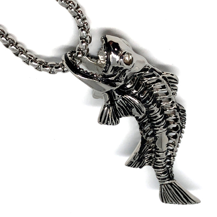 Red Fish, Fish Bone, Stainless Steel Necklace