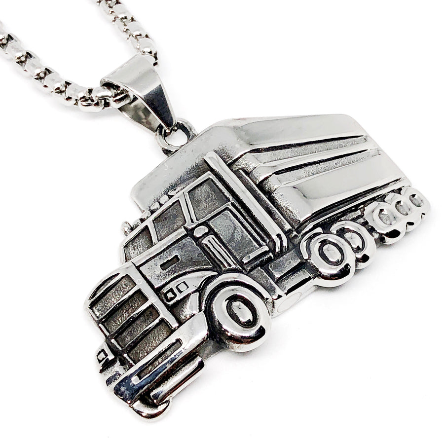 Trucker Semi Truck Stainless Steel Necklace