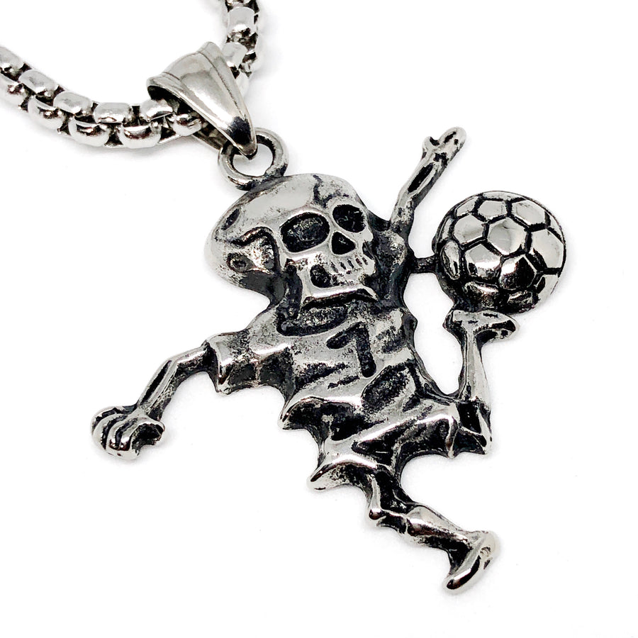 Skull Soccer Player Stainless Steel Necklace