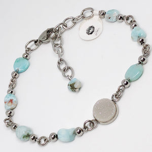Druzy and Larimar Anklet