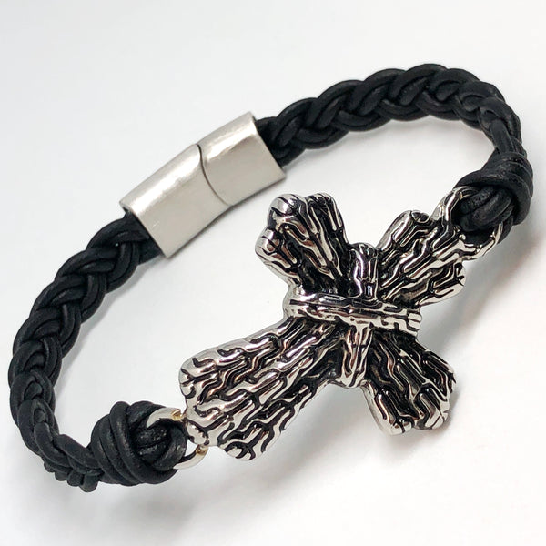 Braided Cross Stainless Steel Leather Bracelet