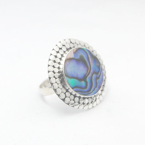 Paua Circle of Dots Sterling Silver Ring