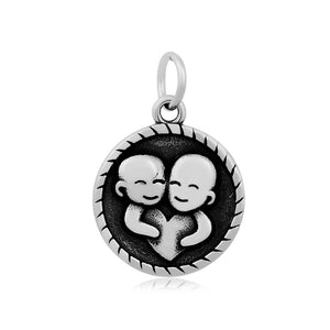 Gemini The Twins Zodiac Charm Me Stainless Steel Necklace