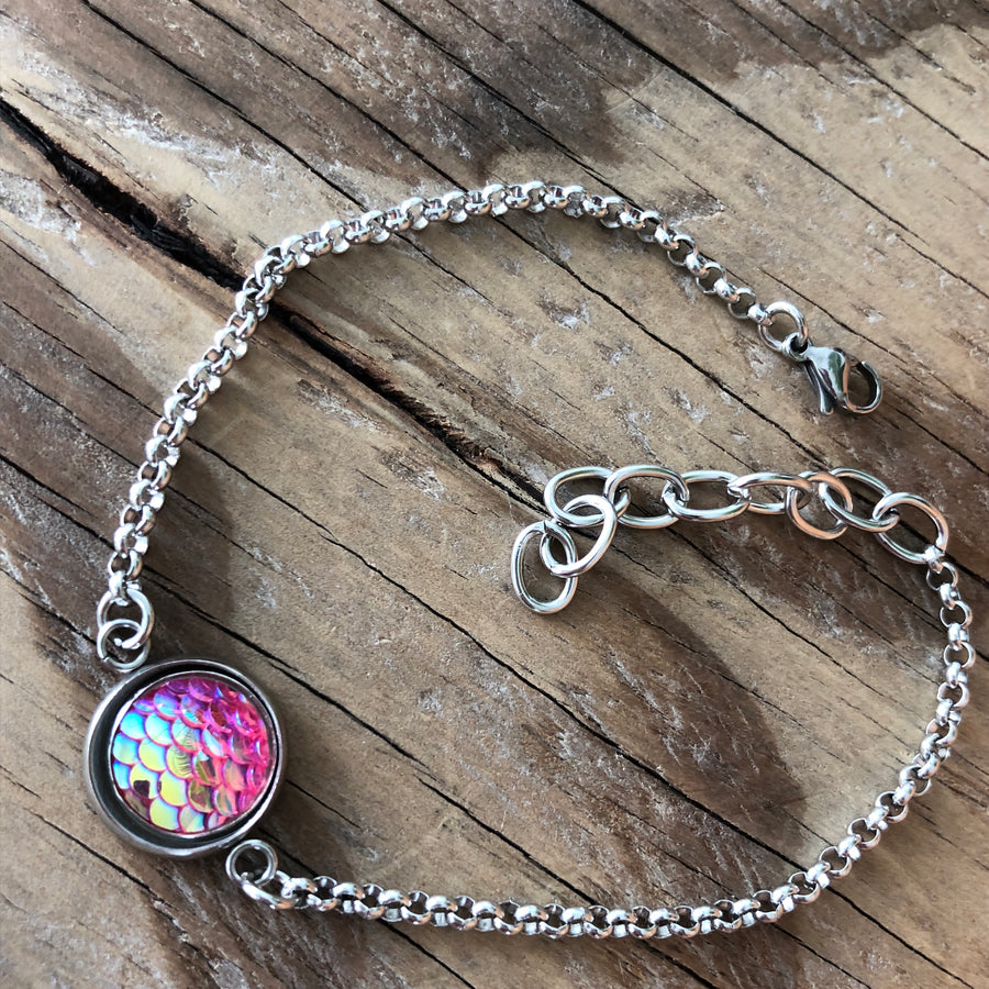 A Mermaid Tail Resin Fish Scales Stainless Steel Anklet