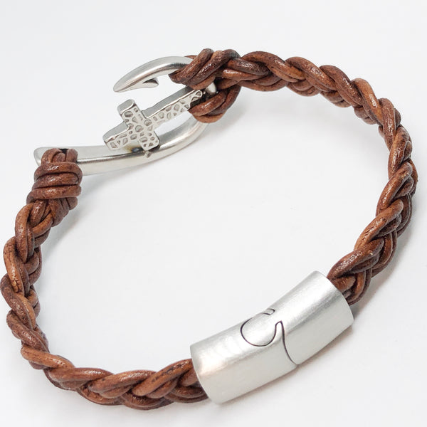 Fishhook and Cross Braided Leather Bracelet