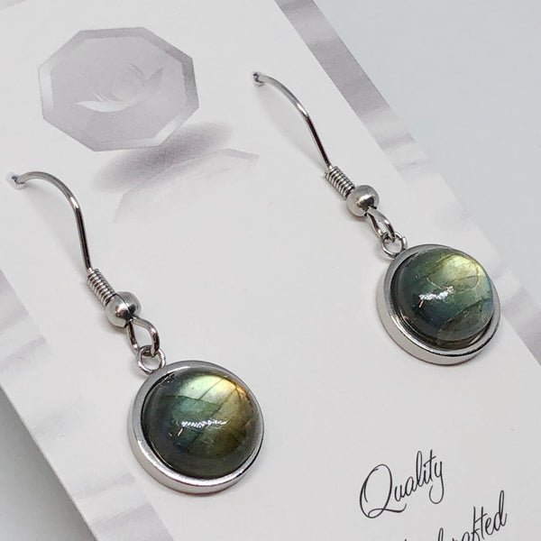 Labradorite Round Earrings