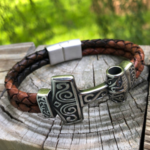 Thors Hammer Bolo Leather Bullmaster Bracelet