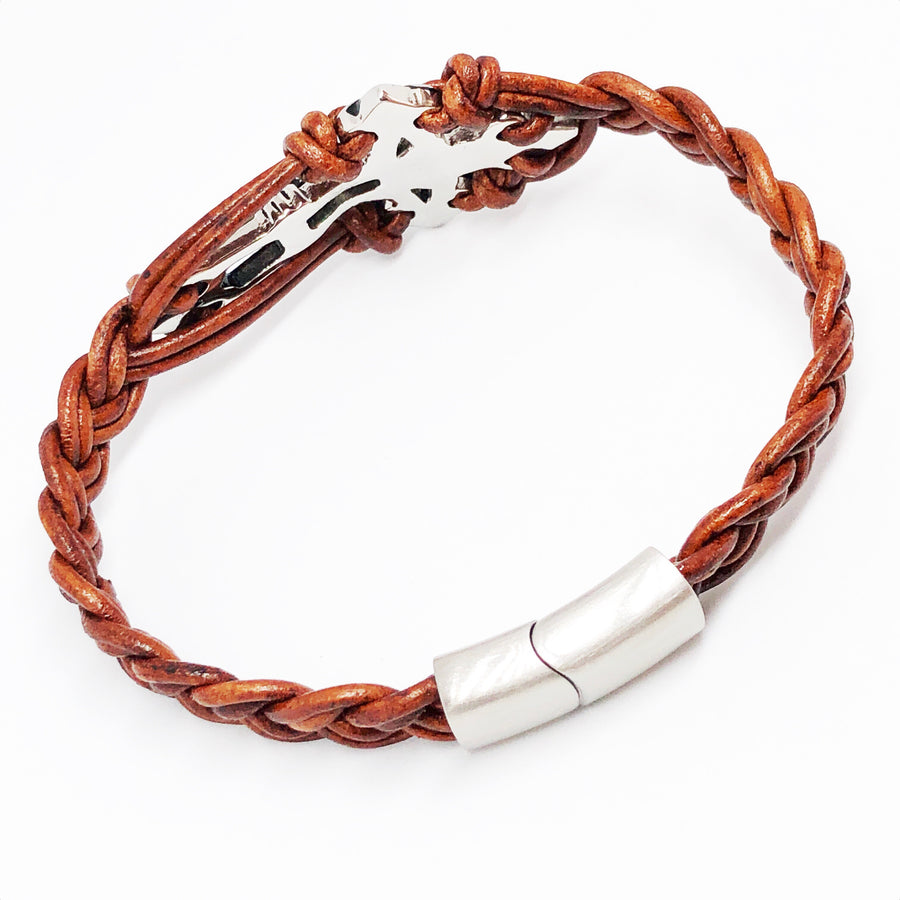 Crucifix Cross Stainless Steel Braided Leather Bracelet
