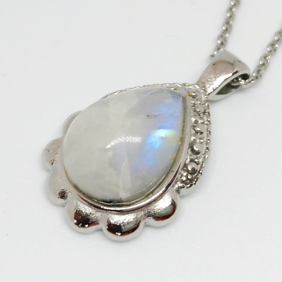 Classic Dewdrop Gemstone Stainless Steel Necklace