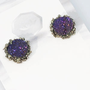 Druzy Pyrite Pave Earrings