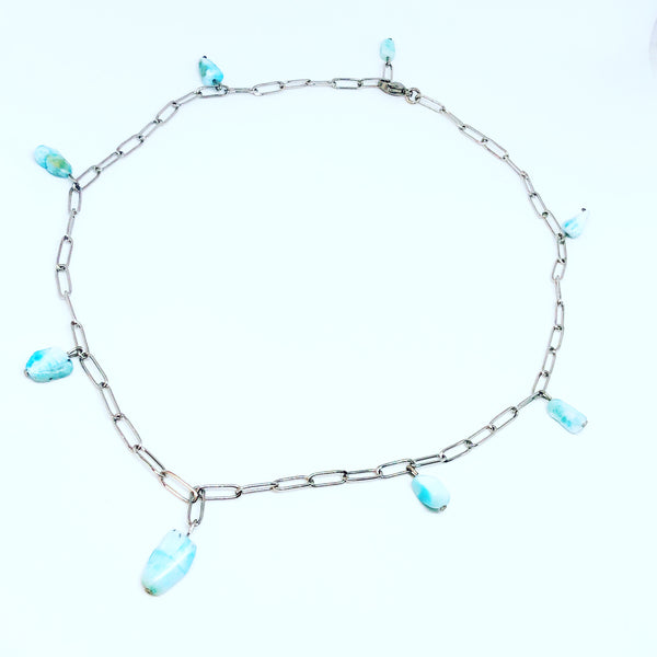 Larimar Nuggets Paperclip Chain Choker Necklace