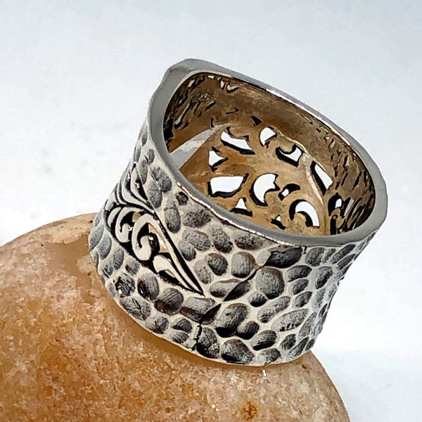 Pressed Leaf Sterling Silver Ring