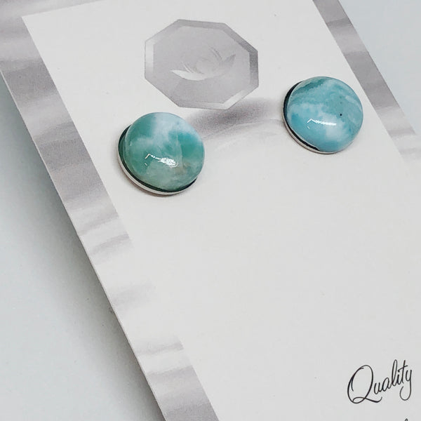 Larimar Round Earrings