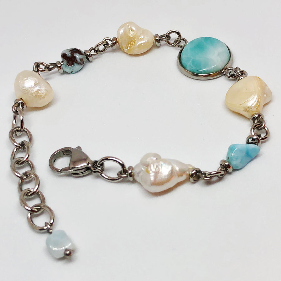 Larimar and Pearl Stainless Steel Bracelet
