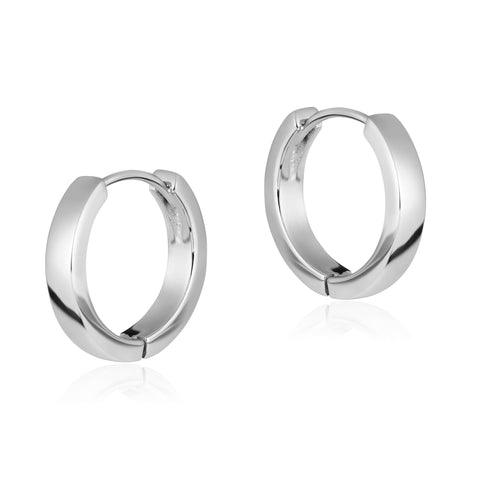 Plain Square Hoops in Silver