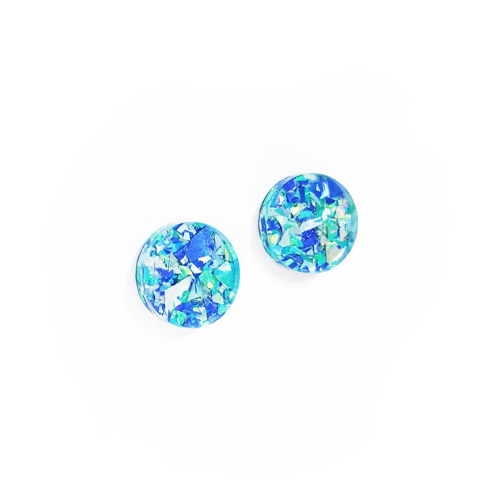 Load image into Gallery viewer, Lover Lover Ally Studs - Blue Glitter