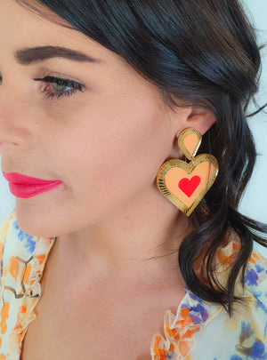 Lover Lover Clementine Earrings - Peach/Neon Red/Gold
