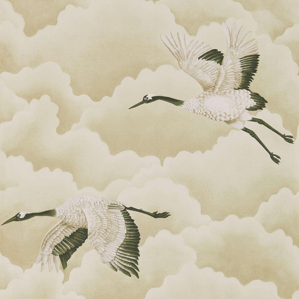 Cranes in Flight Wallpaper - Pebble