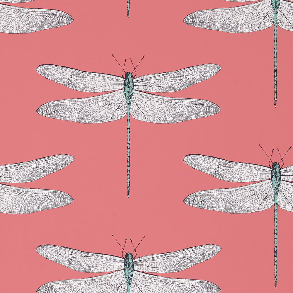 Load image into Gallery viewer, Demoiselle Wallpaper - Coral/Mint