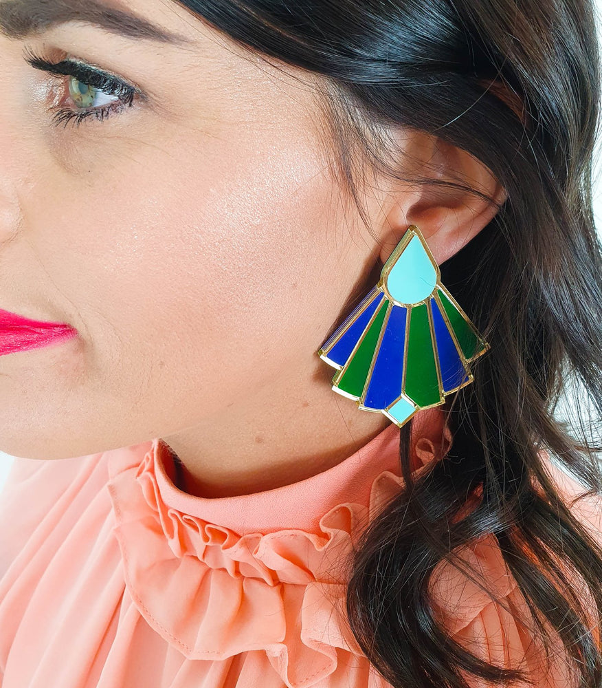 Load image into Gallery viewer, Lover Lover Florence Earrings - Green/Navy/Spearmint