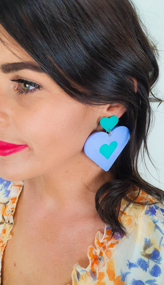Load image into Gallery viewer, Lover Lover Flossie Earrings - Sky Blue/Mint