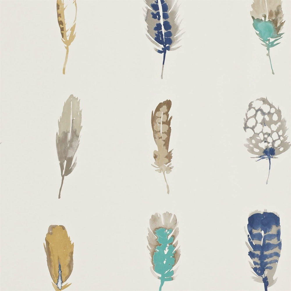 Load image into Gallery viewer, Limosa Wallpaper - Indigo/Mustard/Stone