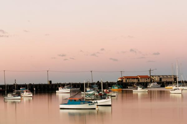Load image into Gallery viewer, Emma Willetts - Pink Skies Oamaru Harbour Print