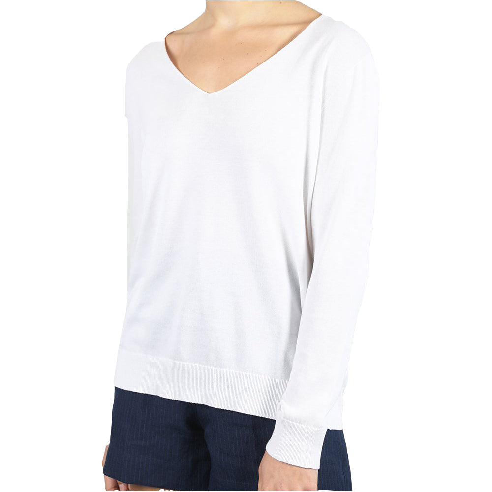 Standard Issue Cotton V Slouchy Jumper - White