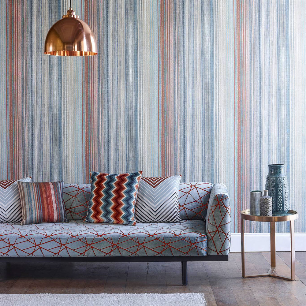 Load image into Gallery viewer, Spectro Wallpaper - Stripe Teal/Sedona/Rust
