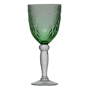 French Country Vintage Green Goblet - Set of 4