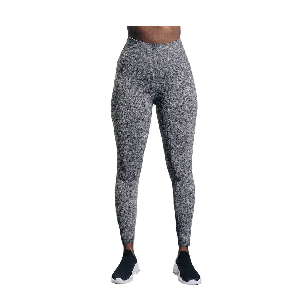 Grey Melange Ribbed Seamless Tights