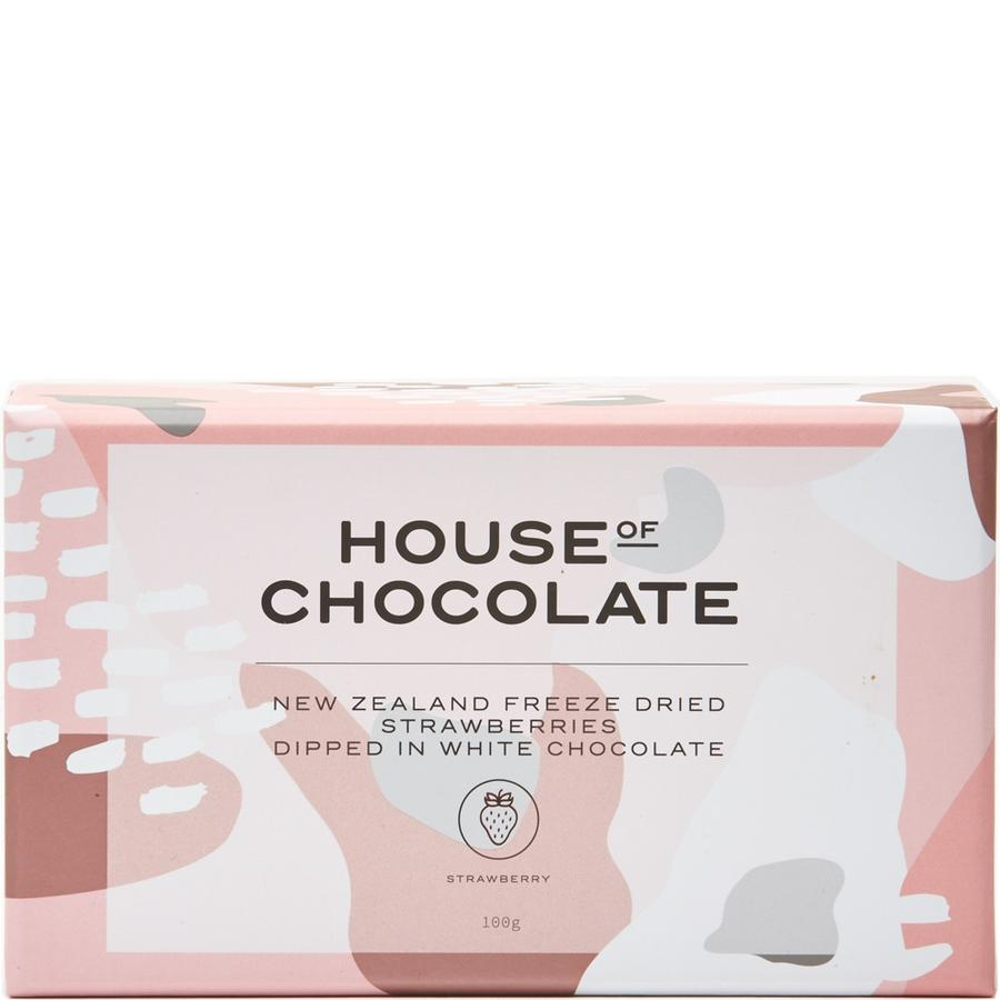 House of Chocolate - White Chocolate Freeze Dried Strawberries