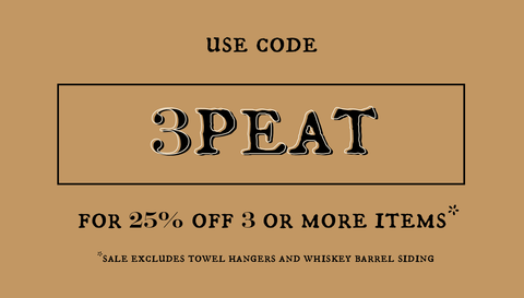 """Use code """"3PEAT"""" for 25% off 3 or more items"""