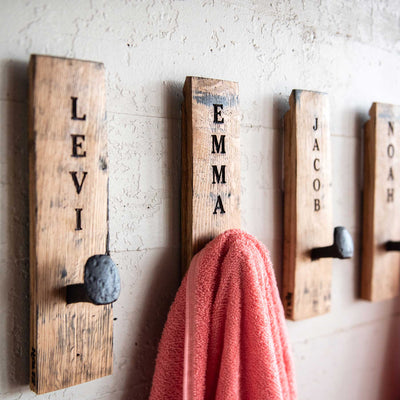 towel hangers made from tennessee whiskey barrels personalized