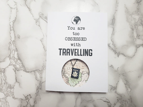 You are too obsessed with Travelling (U.S Passport Necklace)