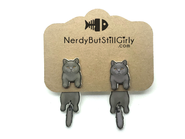 Cat British Shorthair (Big Grey) Cling Earring