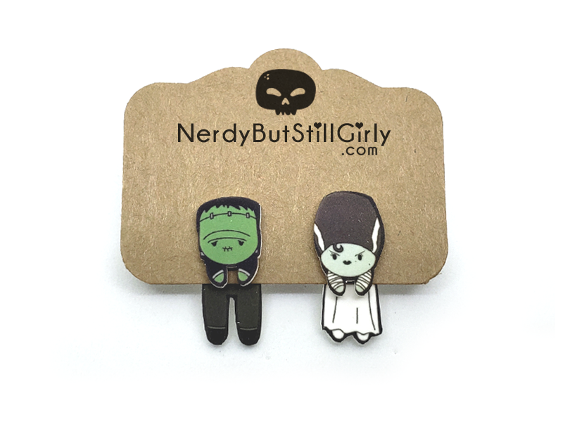 Frankenstein's Monster and Bride Cling Earrings