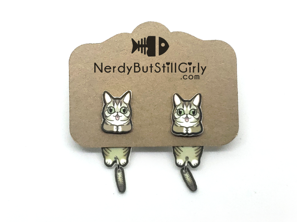 Cat Domestic Shorthair (Lil Bub) Cling Earrings
